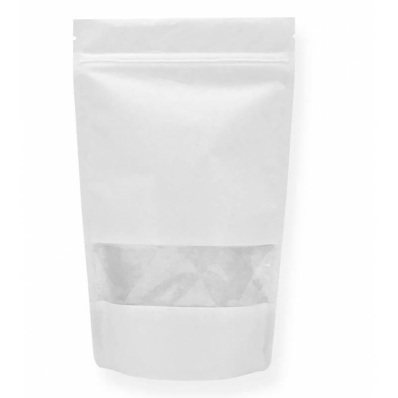 Sachet  Kraft Blanc fenêtre zip